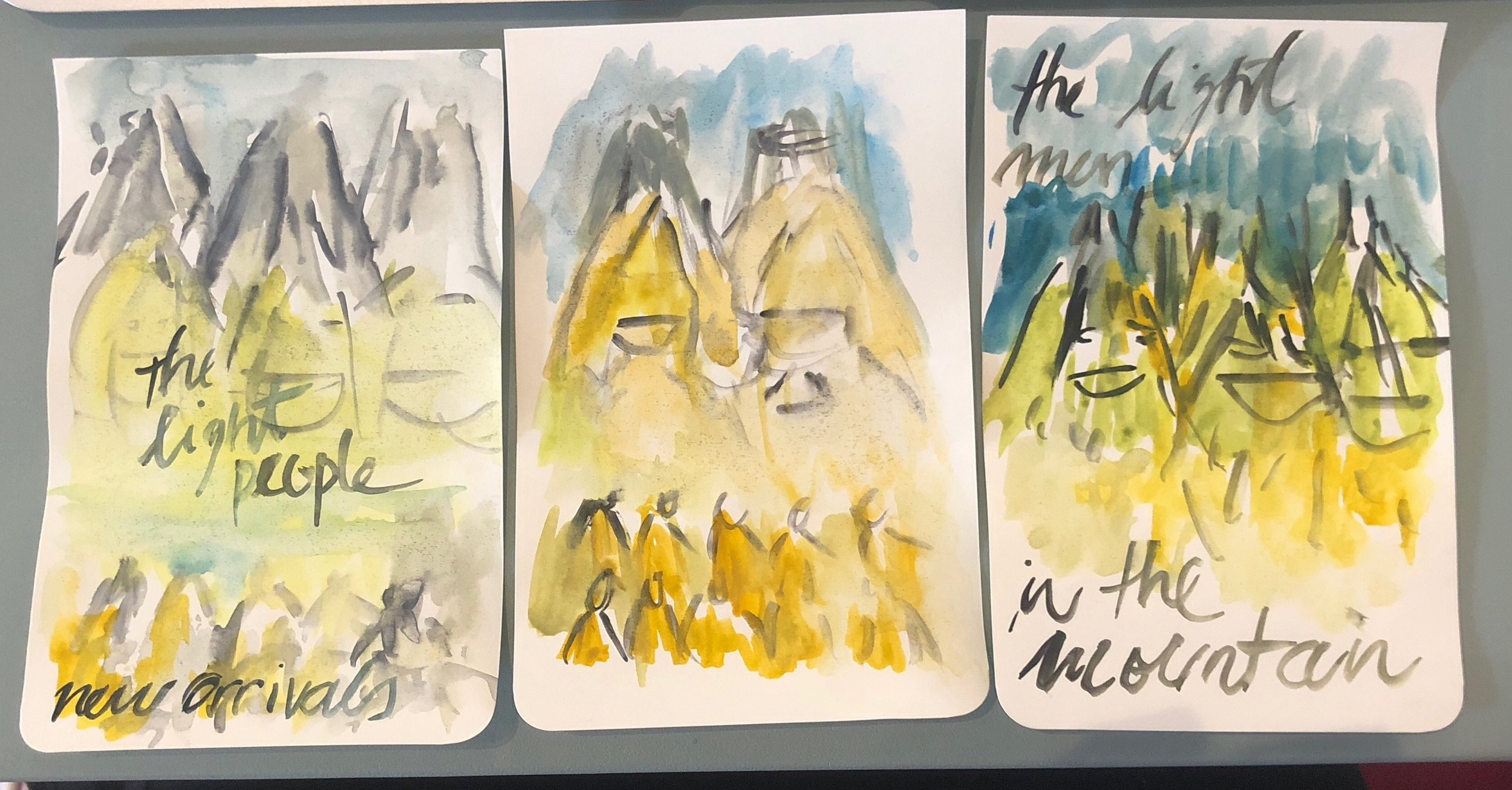 "These are some watercolor sketches of what I saw of the '""Light People"" on the other side telling the new arrivals what is happening to humanity, why there are so many people suffering. The most developed among the ""Light People"" are speaking from the top of mountains and all the spirits are listening."