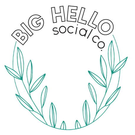 New logo for Big Hello Social Co. with green laurel and stand out font