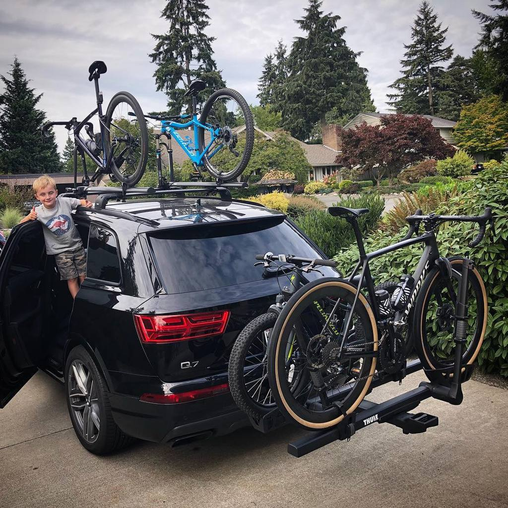 Mike Hone and family driving out from Seattle. Thule racks loaded with bikes.