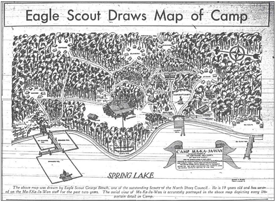 A map drawn by an Eagle Scout from the North Shore Area Council depicting the original property of then Camp Ma-Ka-Ja-Wan.