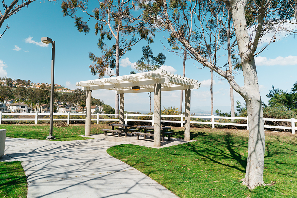 Shaded picnic area at Lake Hills Park