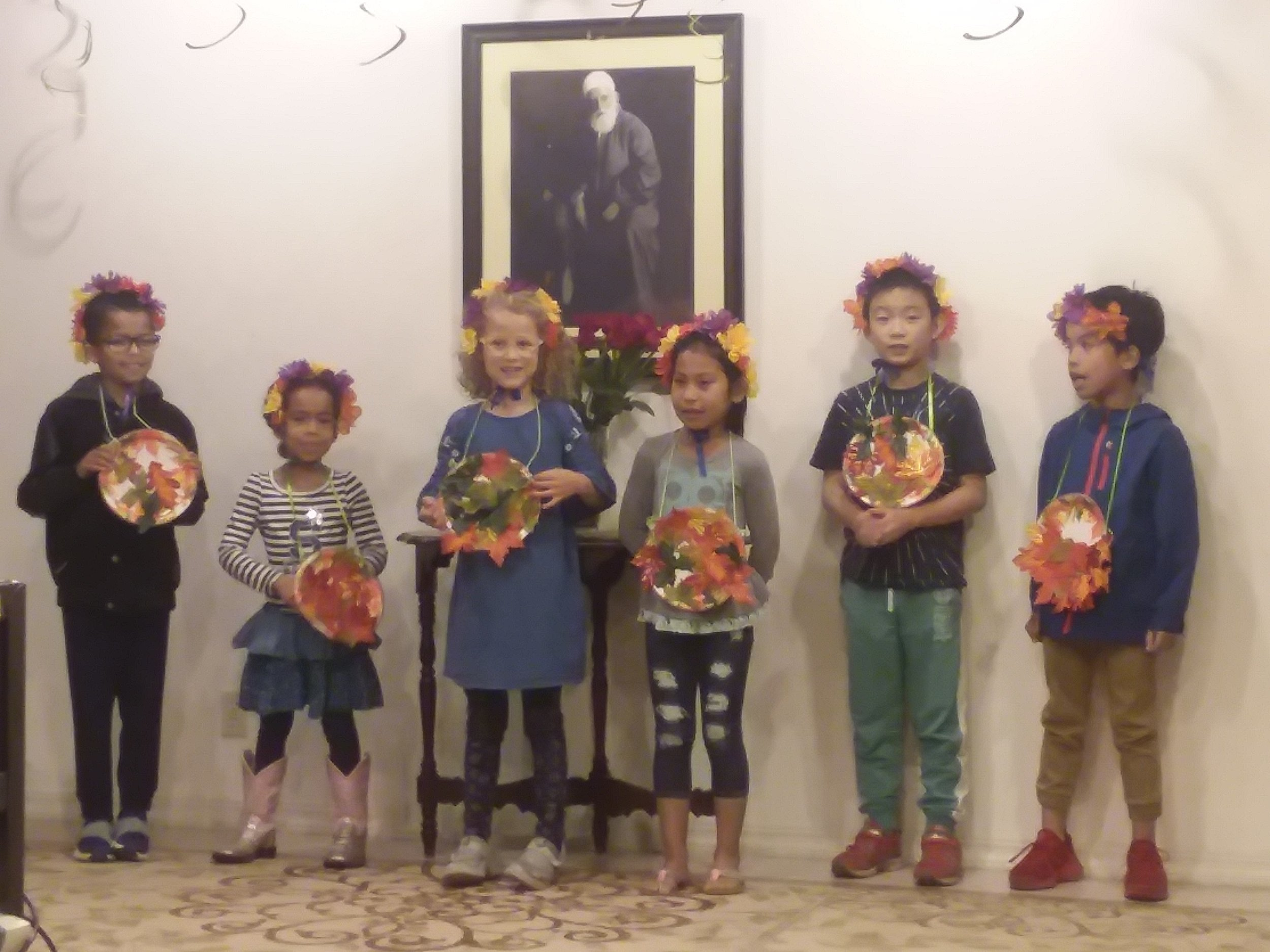 """Children's class performing, """"We Are Drops of One Ocean"""" at the Vancouver Baha'i Center as part of the celebration for the Birth of the Bab."""