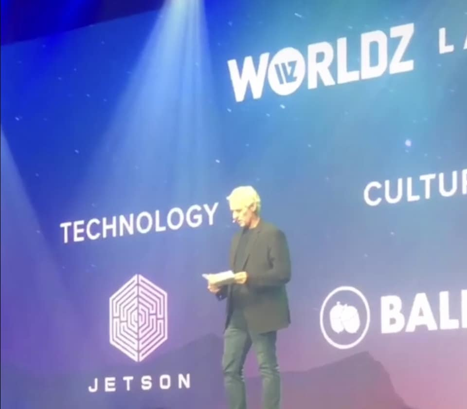 Jetson being announced winner on stage at WORLDZ 2018.