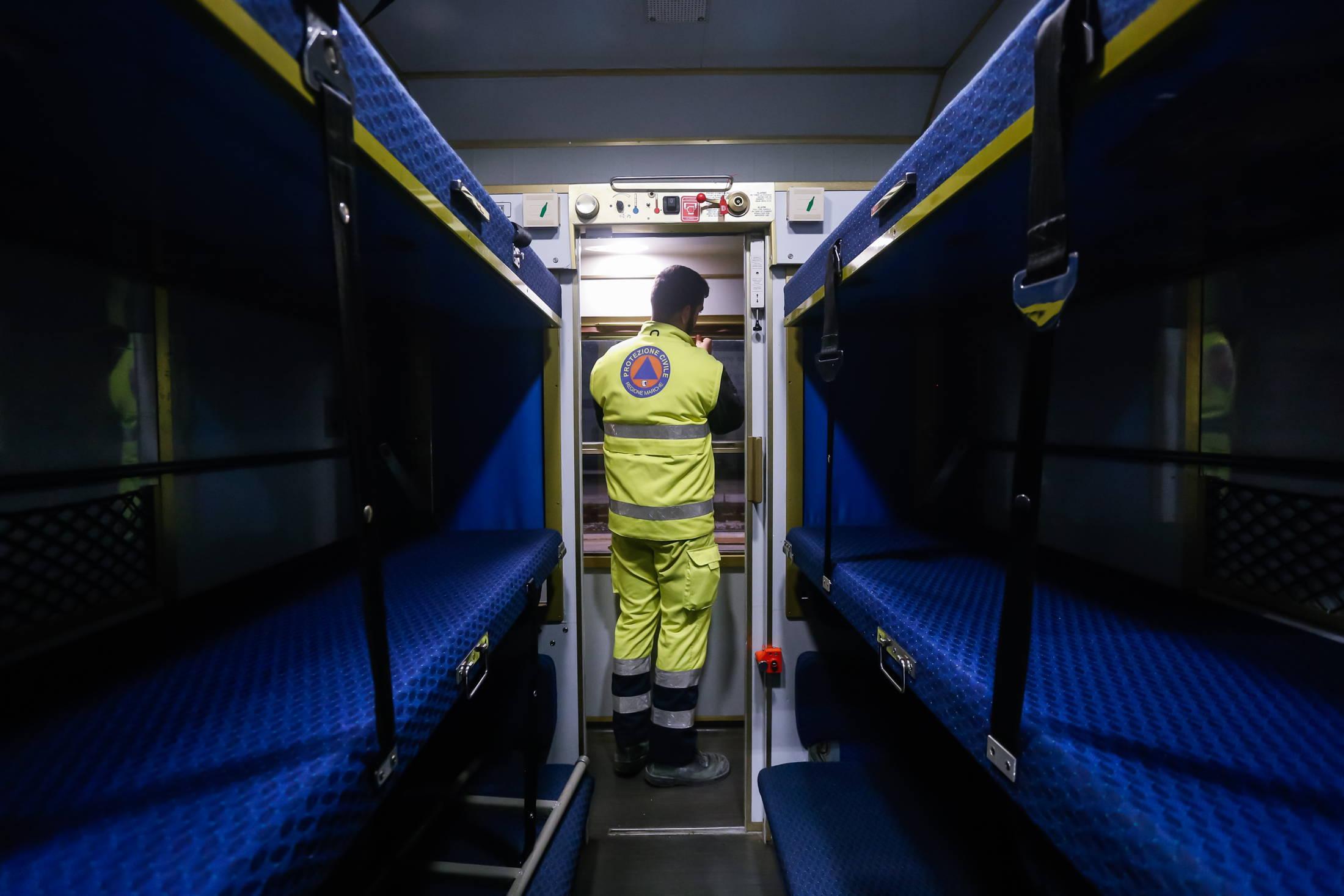 Homeless on a train after Italian earthquake