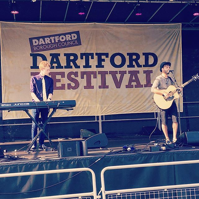 Me and @tommonksmusic performing at Dartford Festival 2019! Join us this Saturday 24th August from 7pm for another killer set at Swanley Folk Festival, Swanley Park, New Barn Road • • • • • • • • #live #music #stage #bigscreen #performers #singer #songwriter #samwinston #altpop #folk #folkpop #samwinstonmusic #guitar #gig #festival #dartford #dartfordfestival #performer #swanley #musicfestival #summer #fresh #summerfestival #originalmusic #tommonks #keyboard #poprock
