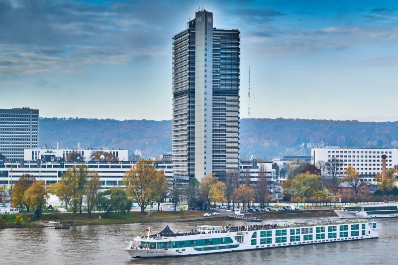 The Scenic Crystal Cruise which was the venue of hackathon with UN Bonn Campus in background ( Source )