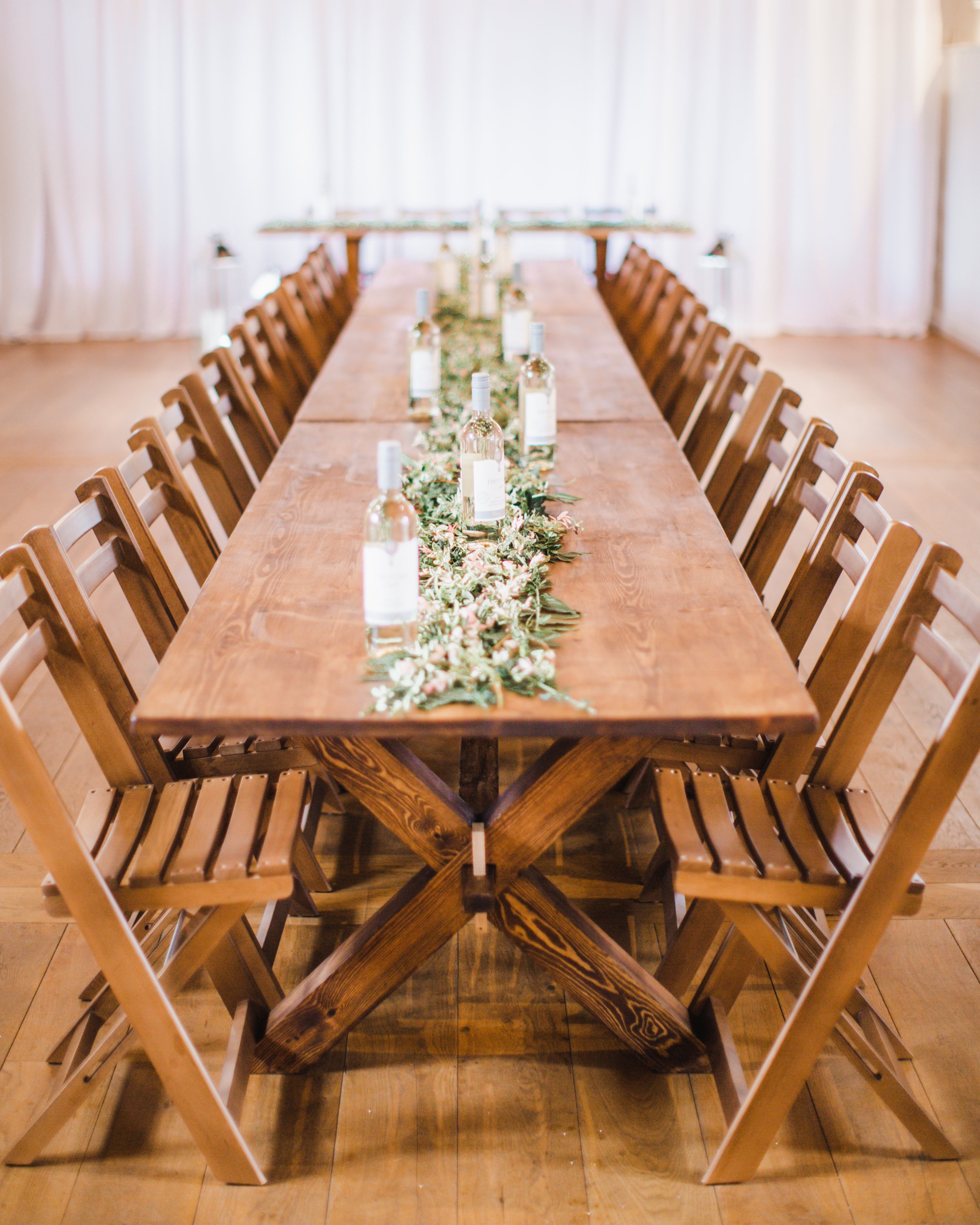 Tables & Chairs - Our modern furniture collection has been handmade by our skilled craftsman. Perfectly matched with our folding chairs, these are both available to hire for your wedding day!