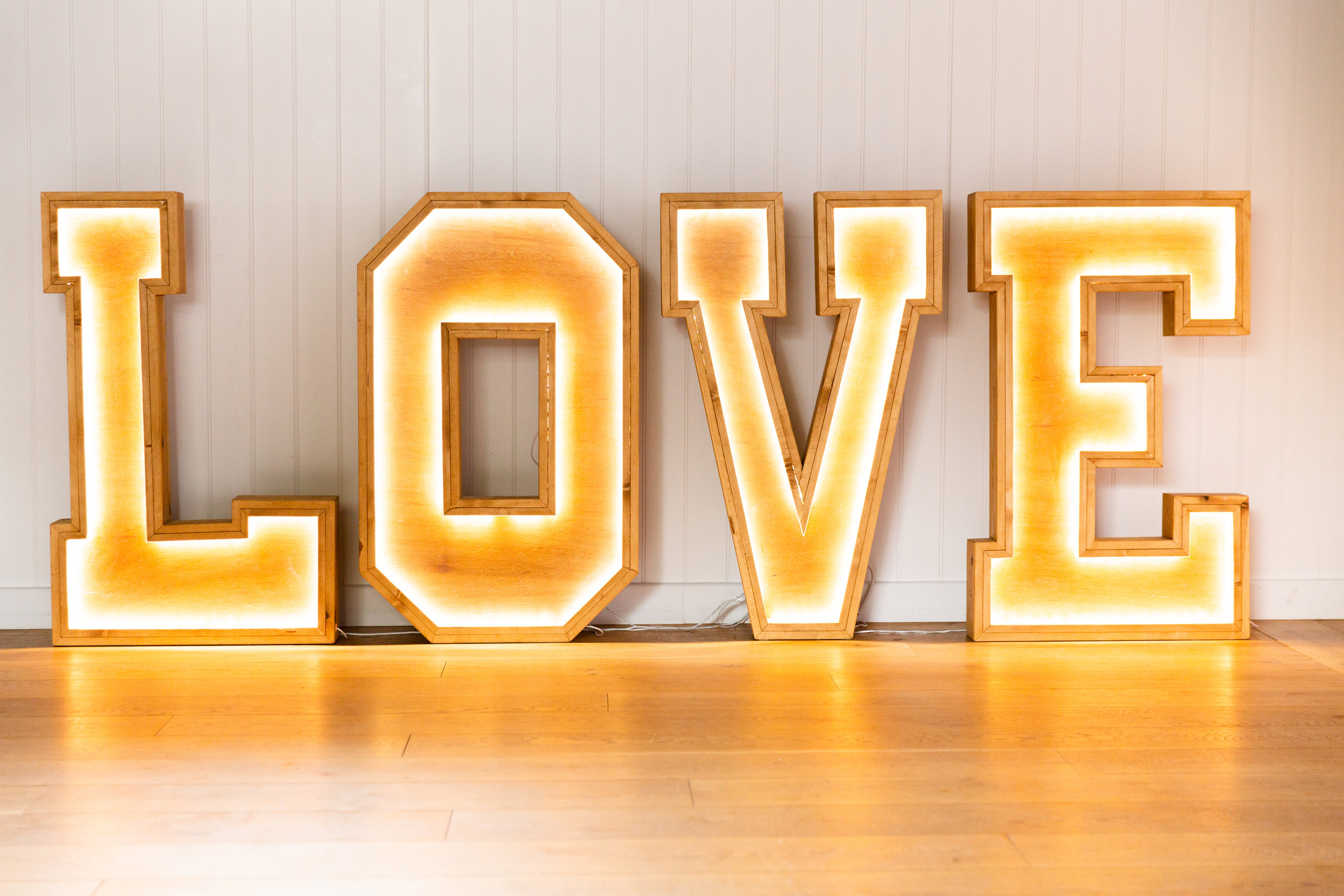 LOVE Letters - Modern and Wooden light up letters available with two light settings, dependant on your wedding themes.