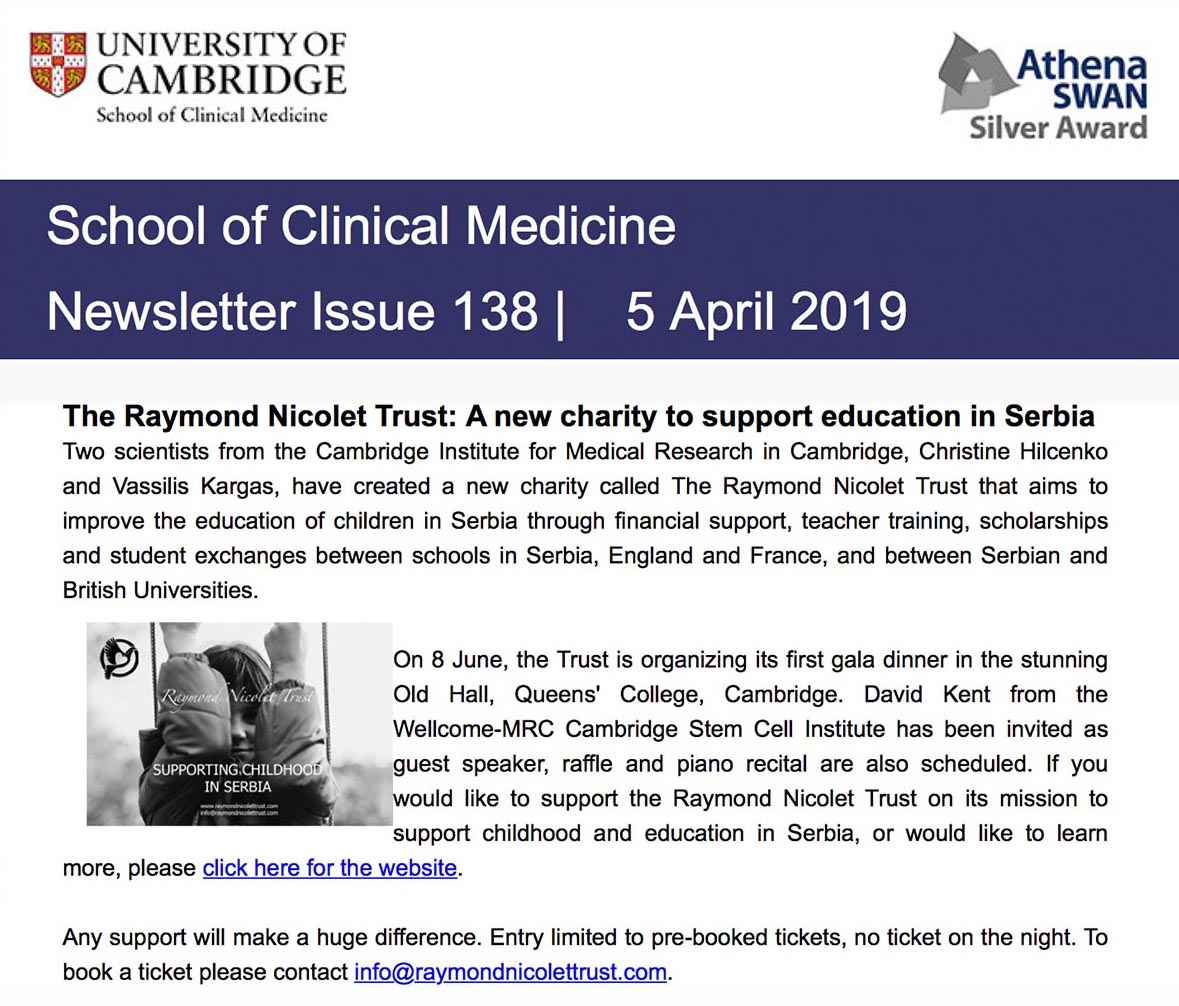 School of Clinical Medicine Newsletter, Issue 138, 5th April 2019.
