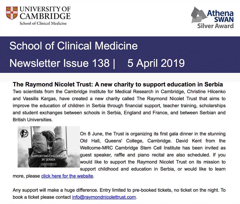 Школа за клиничку медицину Newsletter, издање 138, 5. април 2019.