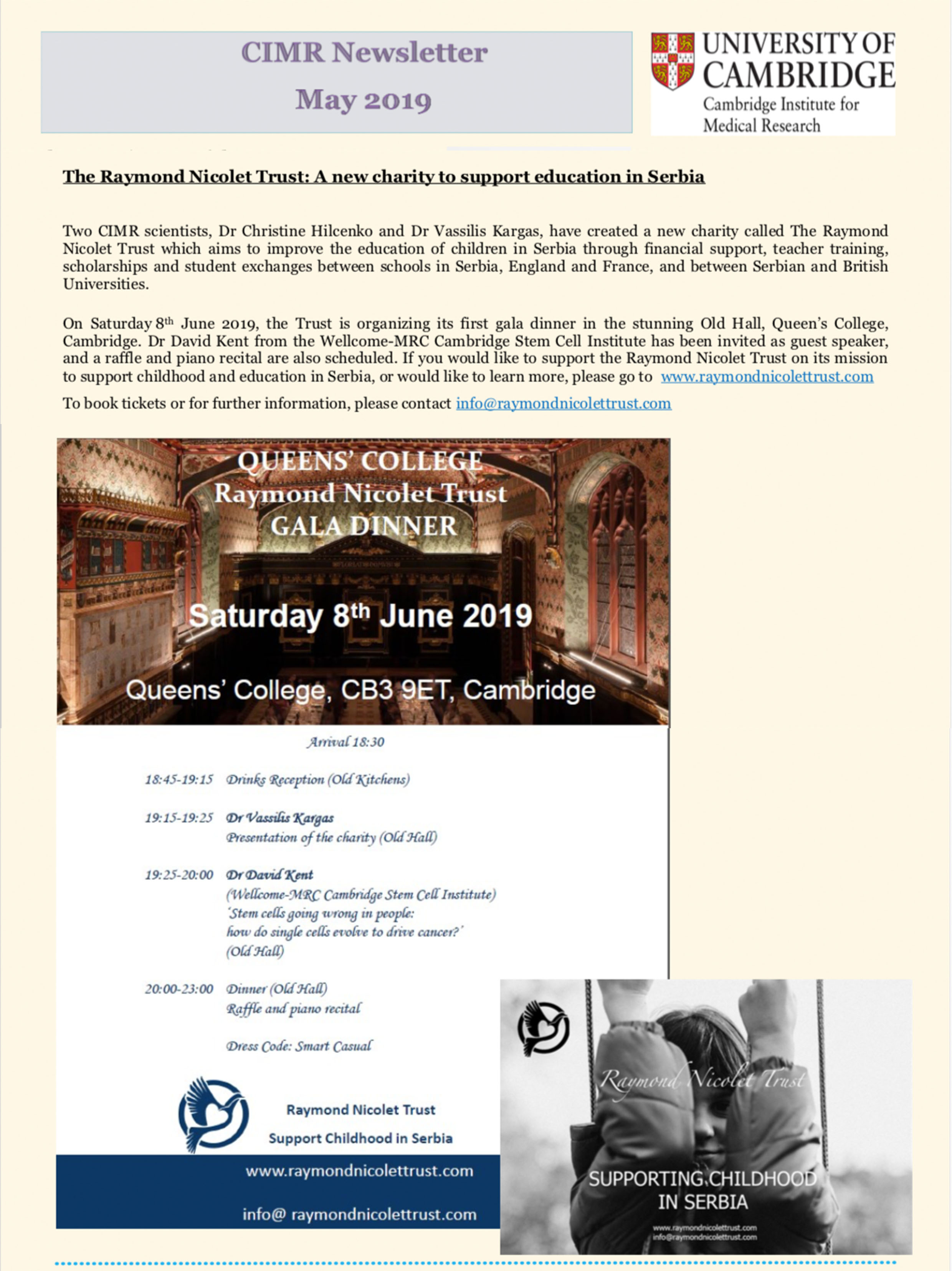 Cambridge Institute for Medical Research Newsletter, Mai 2019.