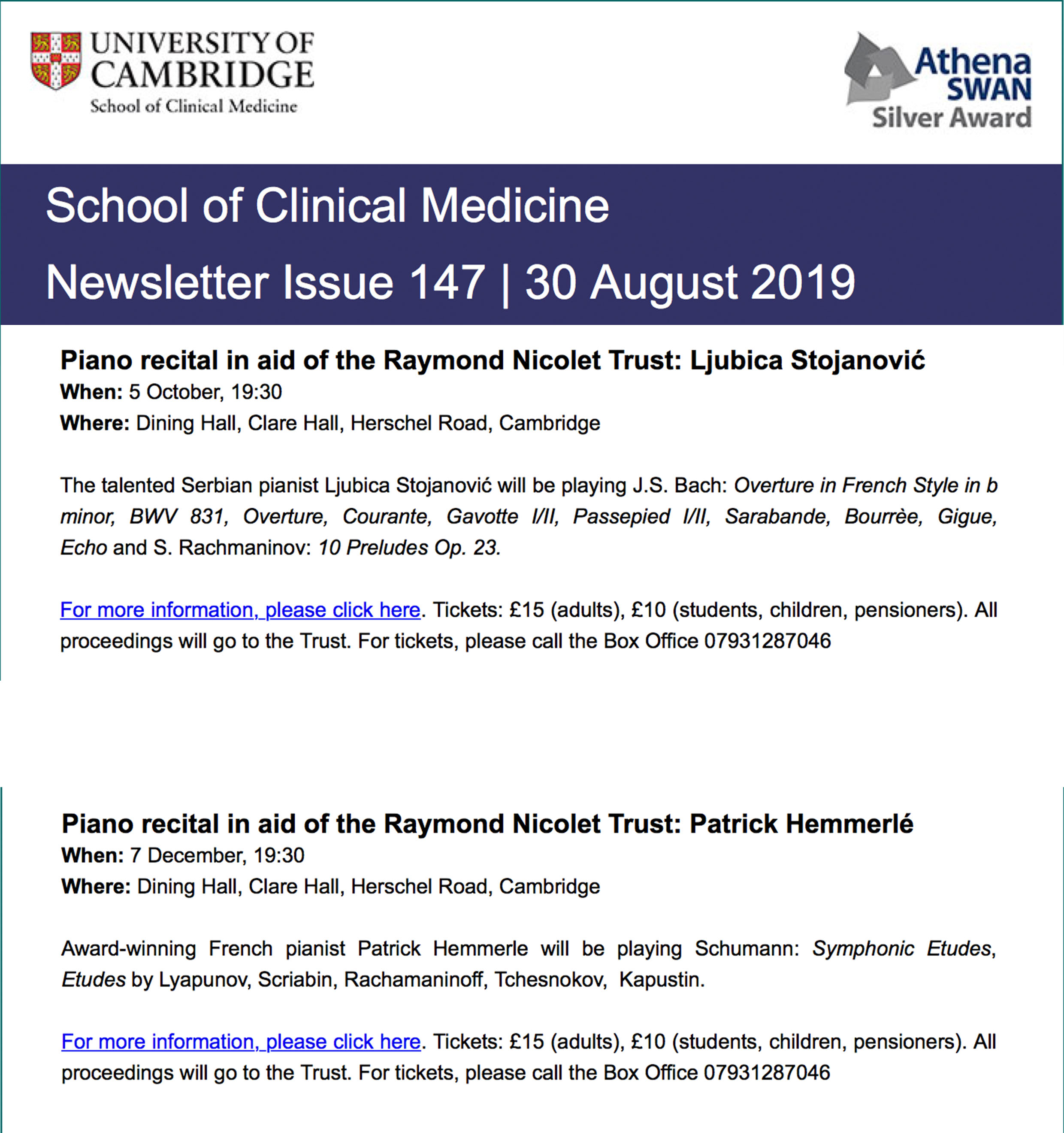 School of Clinical Medicine Newsletter, Issue 147, 30th August 2019.