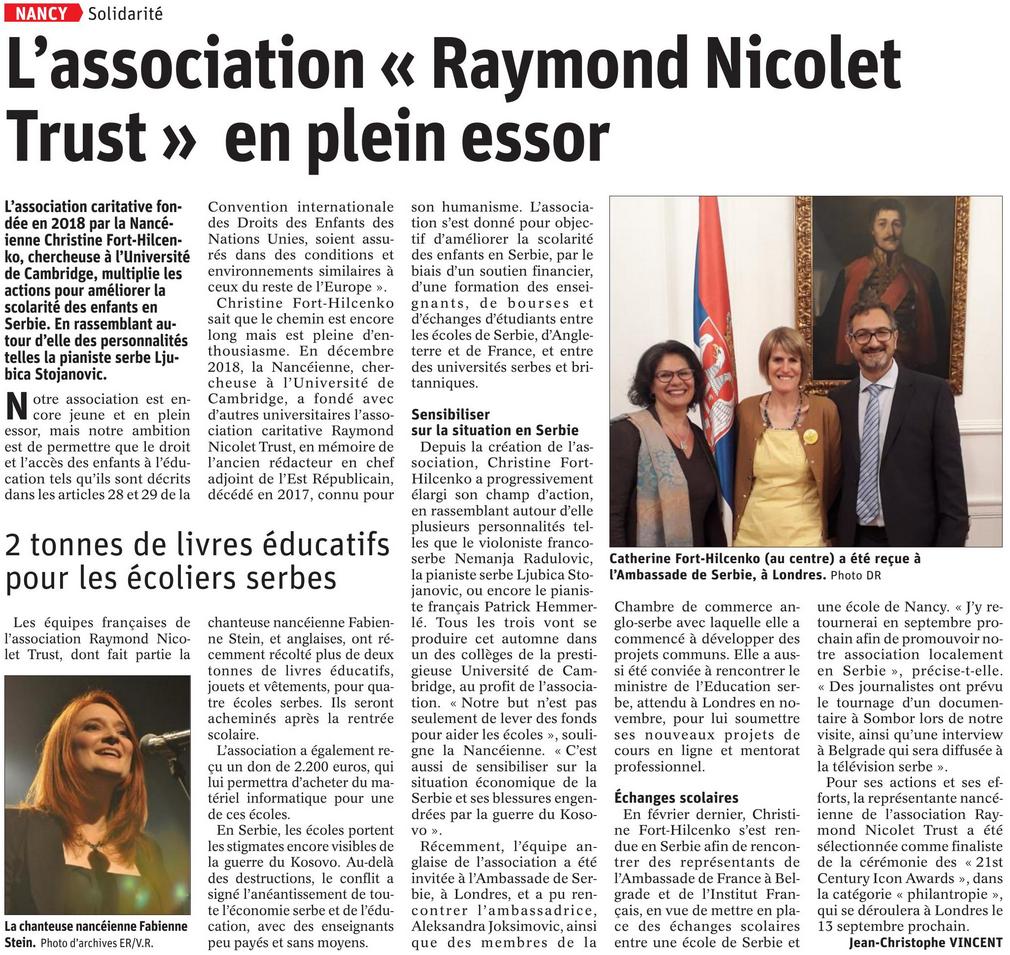 L'Est Républicain , 31 Aout 2019, France.