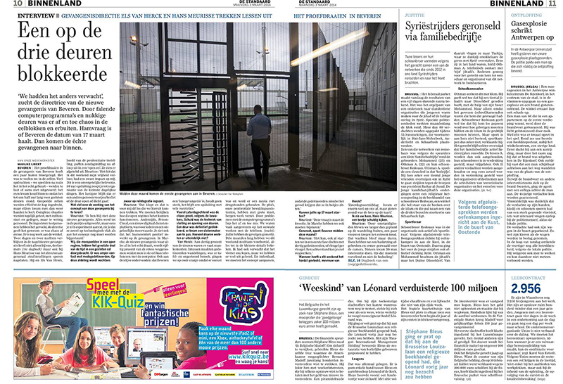 Assignment inside Prison for De Standaard