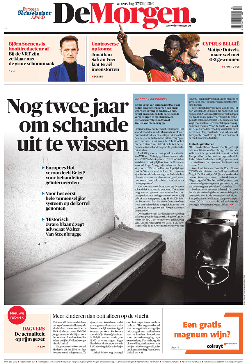 Prison cover for De Morgen
