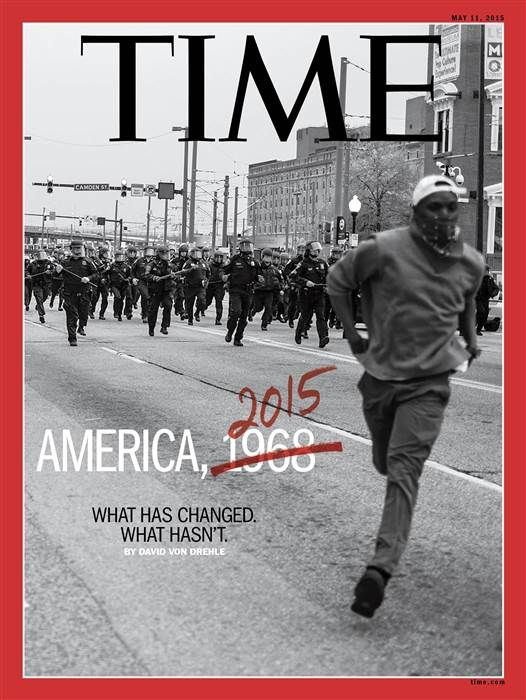 I saw that cover the day it was published, and I heard that the photo editors found that photography on a social network online during the protest in Baltimore in 2015. Davin said he was an amateur photographer.