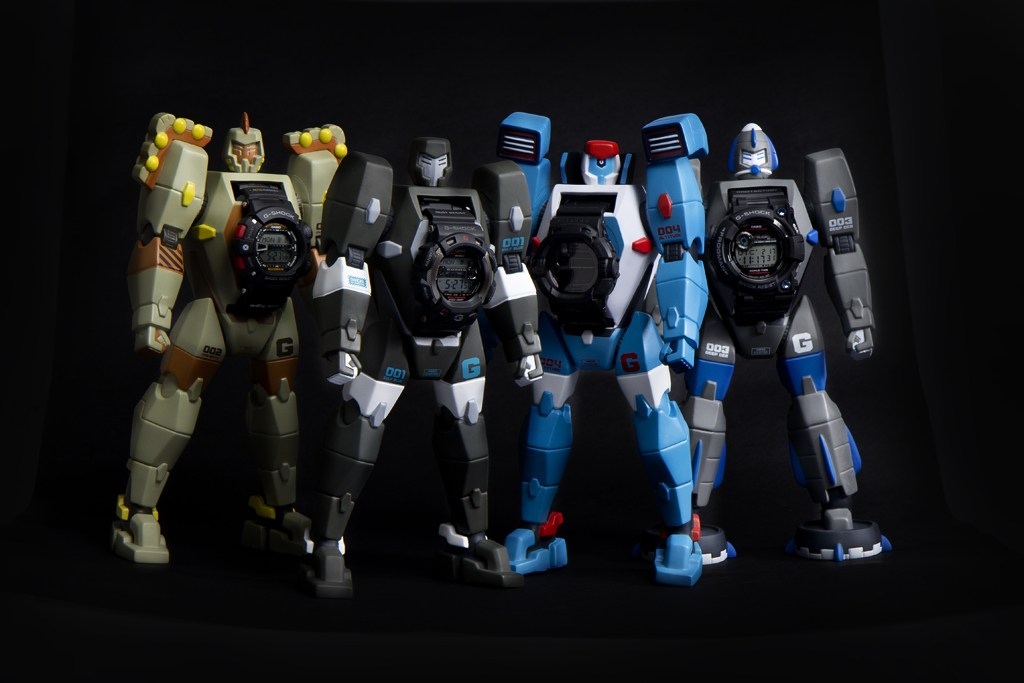 MASTERS OF G ROBOTS. adFunture x G-SHOCK Masters of G figures and watches. Four watches (Gulfman, Frogman, Mudman and Riseman) and their respective characters were designed exclusively for the China market in 2011.