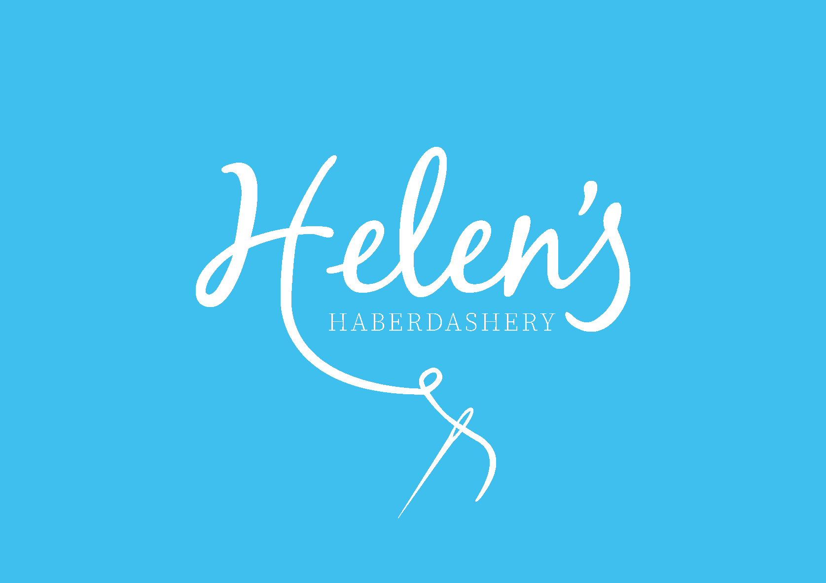 Helen's Haberdashery logo - Blue background