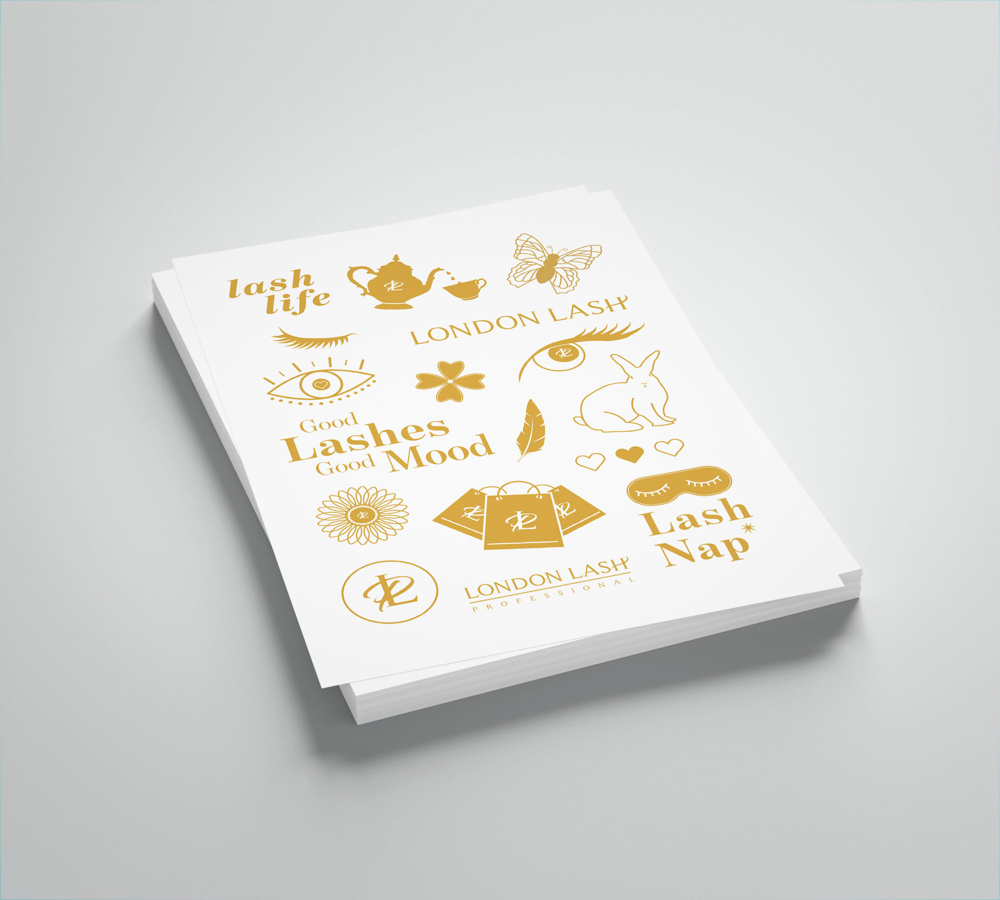 Gold summer promotional stickers
