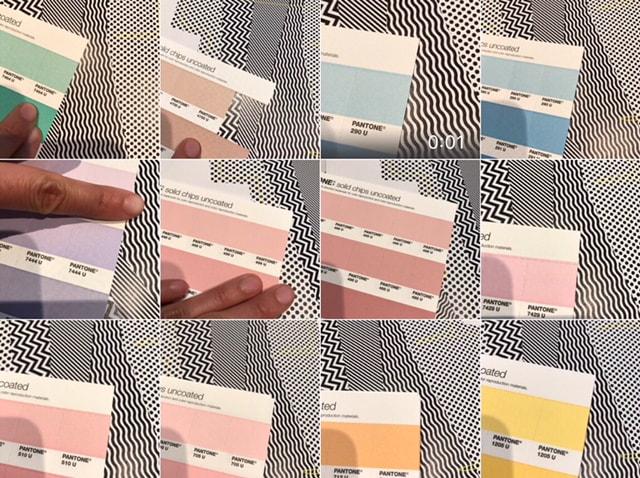 Sélection des papiers et des couleurs.