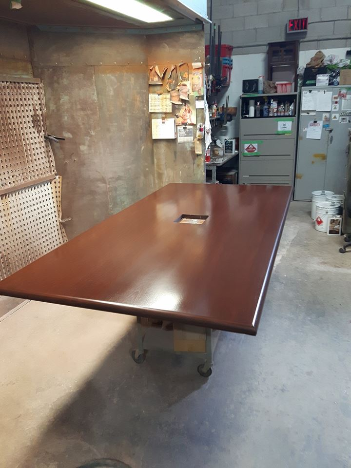 TUP CORPORATE BOARDROOM TABLE REFINISHED AFTER                    NO BEFORE AVAILABLE.jpg
