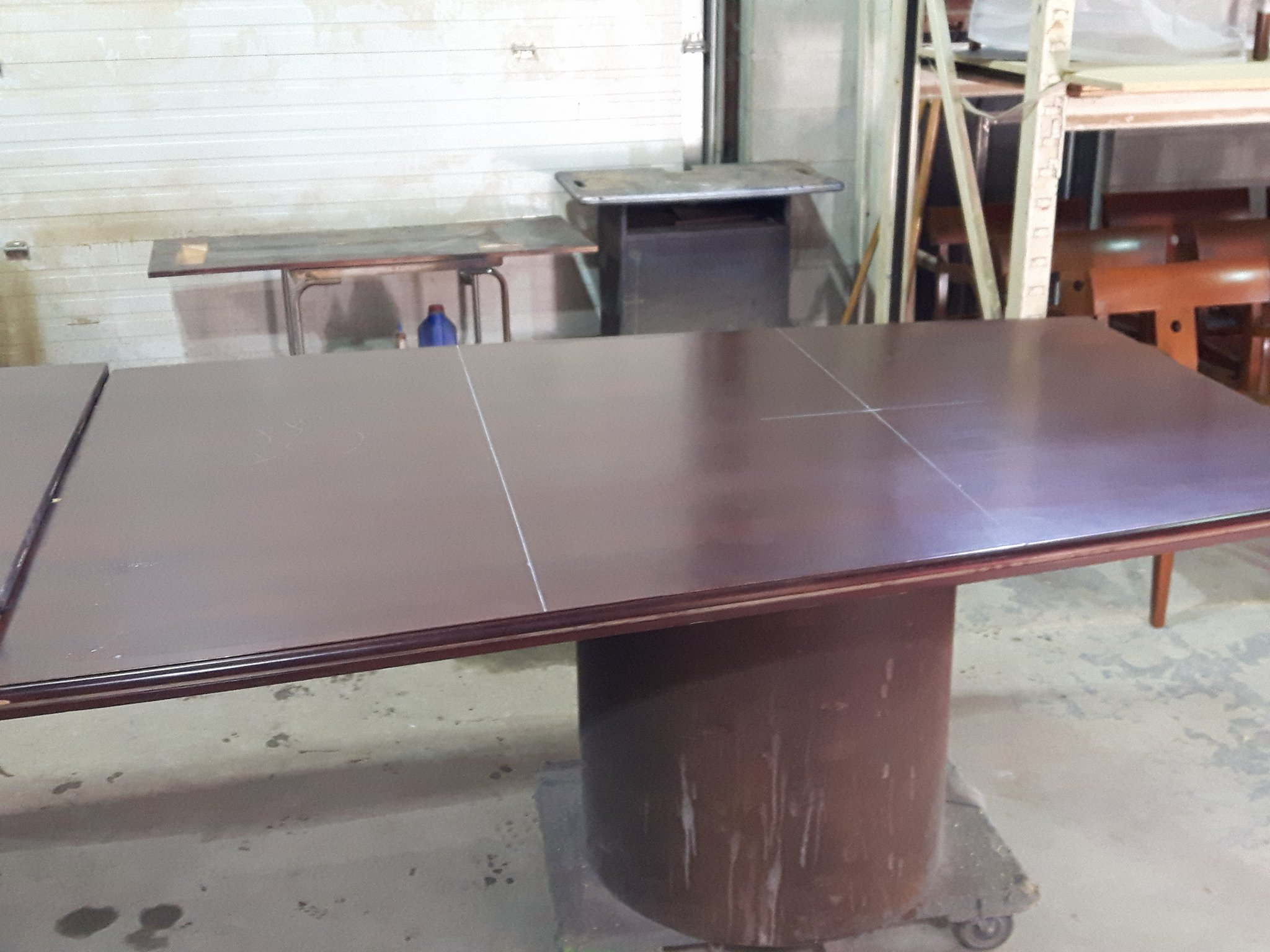 TUP Meadowvale Cemetery BEFORE  Mount Pleasant Group Meeting Room table cut and refurb.jpg