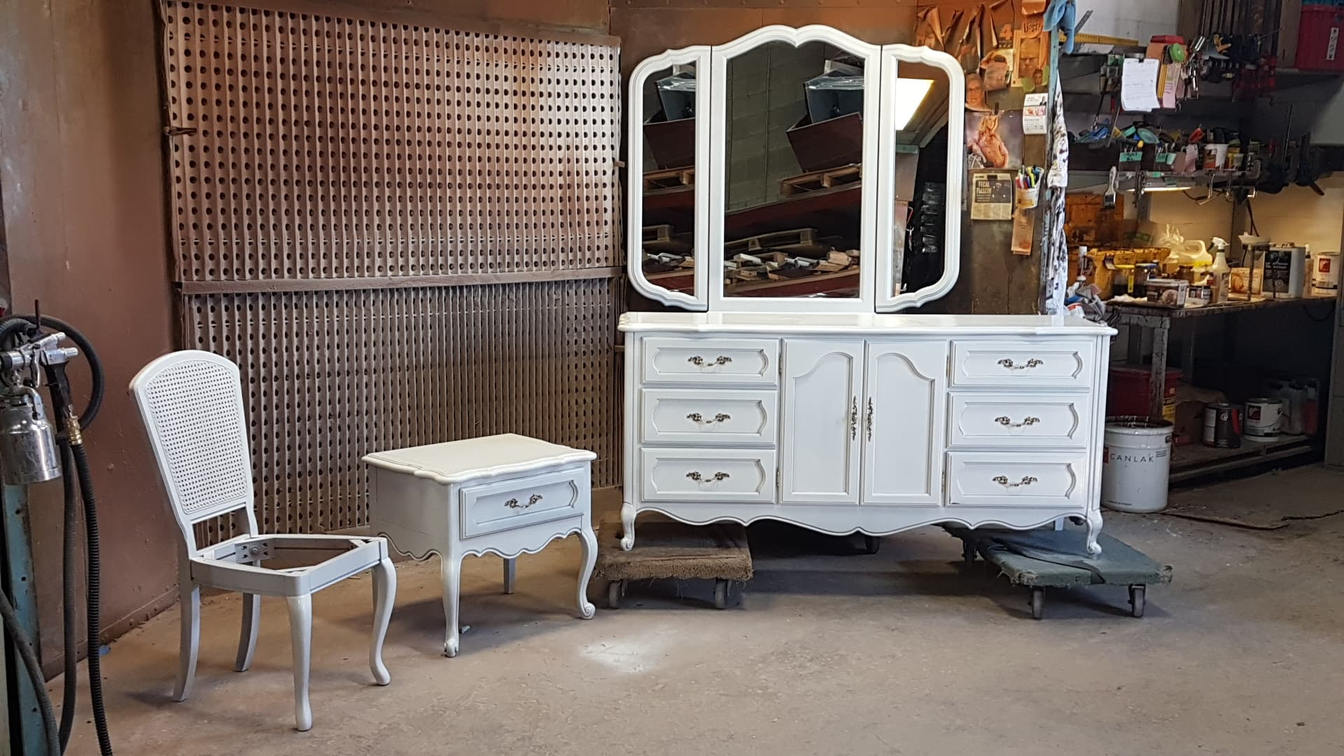 TUP Bedroom dresser with 3 sction mirror end table and chair March 2019.jpg