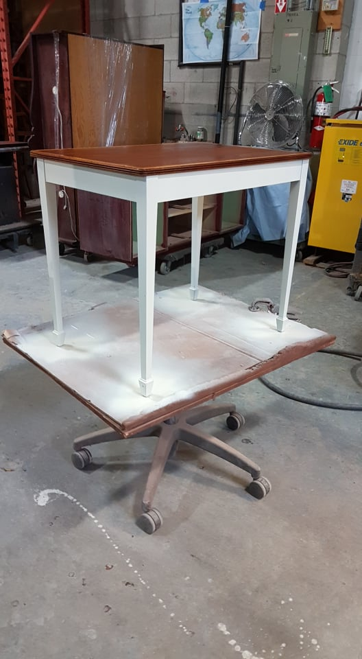 TUP End Table showing warm white base on zebra striped mahogany top table with yew inlay on top April 2019.jpg
