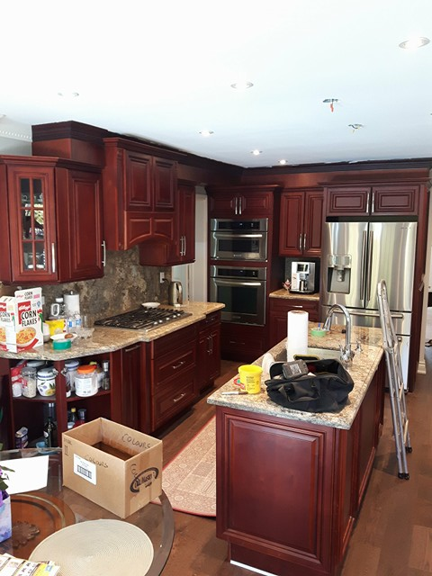 TUP Kitchen before dark red brown mahogany Streetsville.jpg