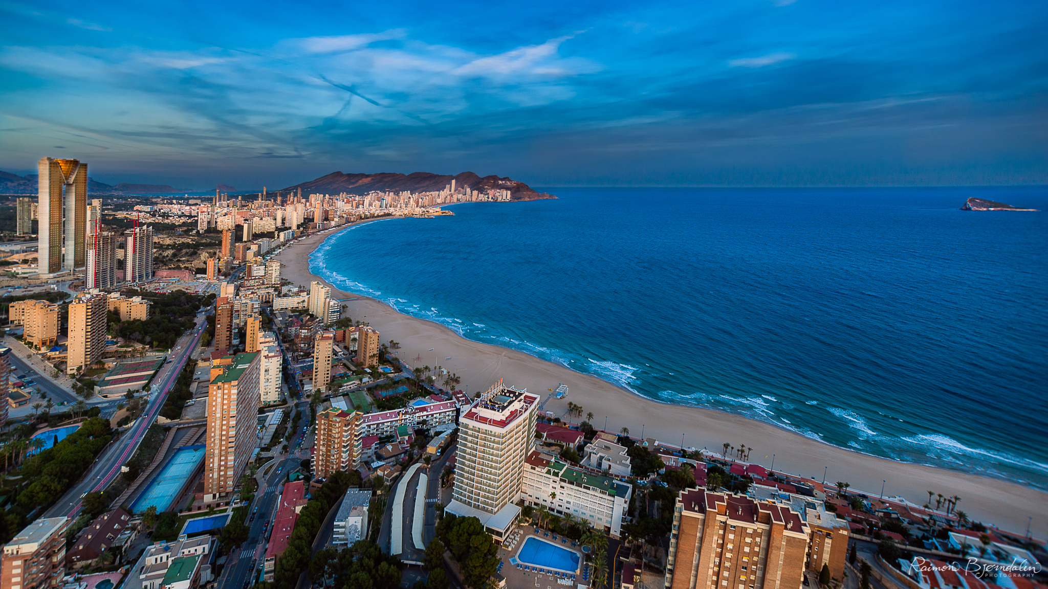 View from the top of the Gran Hotel Bali in Benidorm, Spain.
