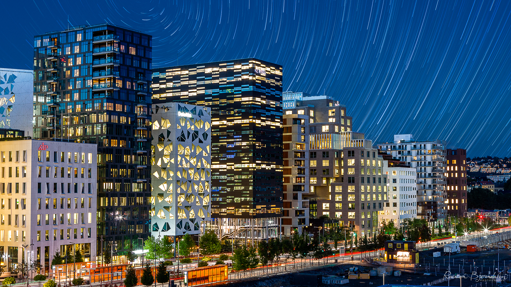 Startrails over Barcode project in Oslo, Norway.