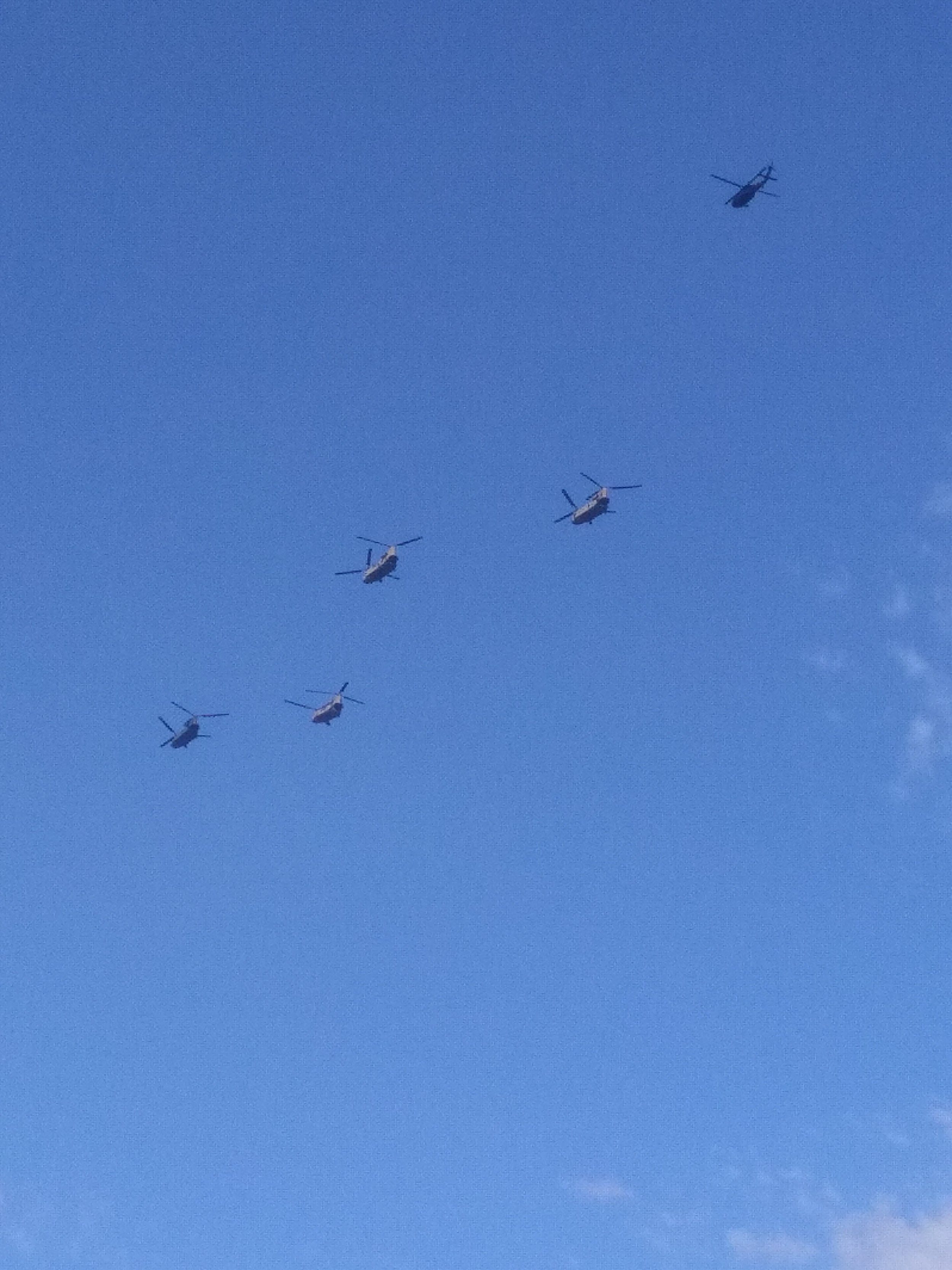 Chinook  helicopters above Paris