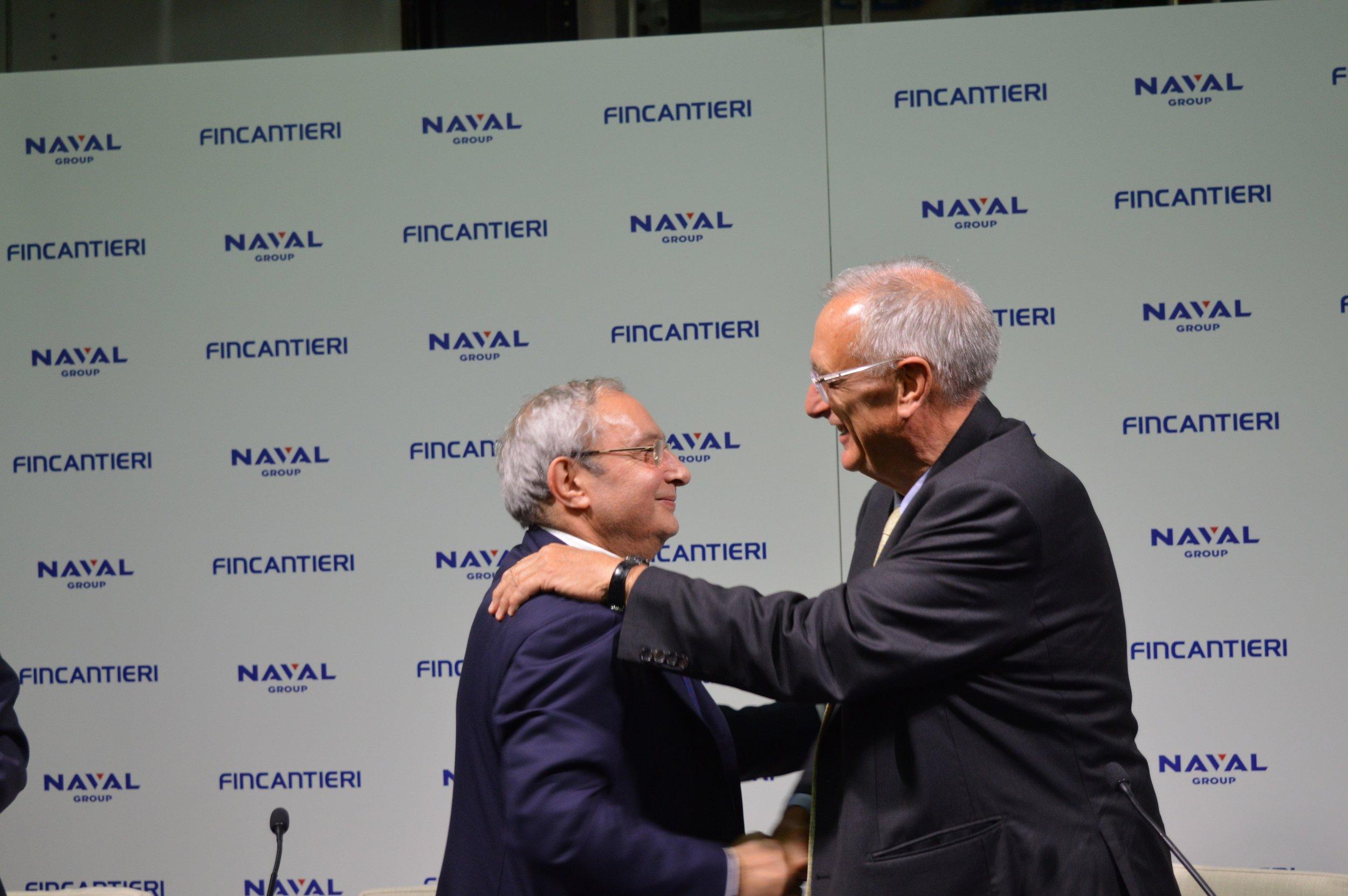 Hervé Guillou et Giuseppe Bono scellent l'accord Naval Group et Fincantieri