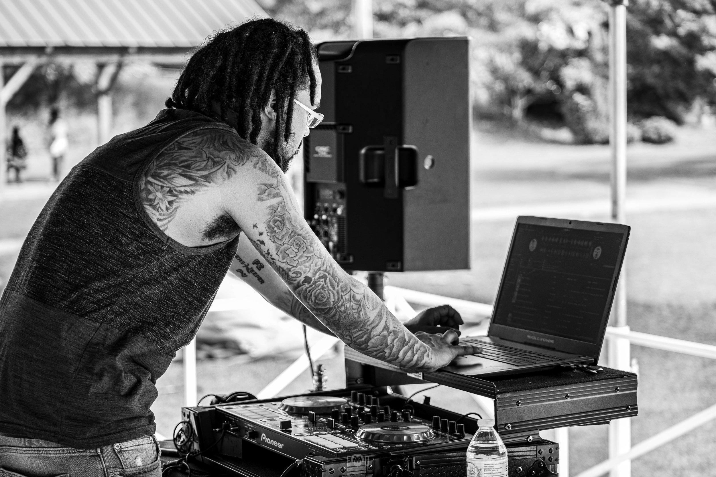Dj Pound providing entertainment at the 2019 SenCity Community Event -