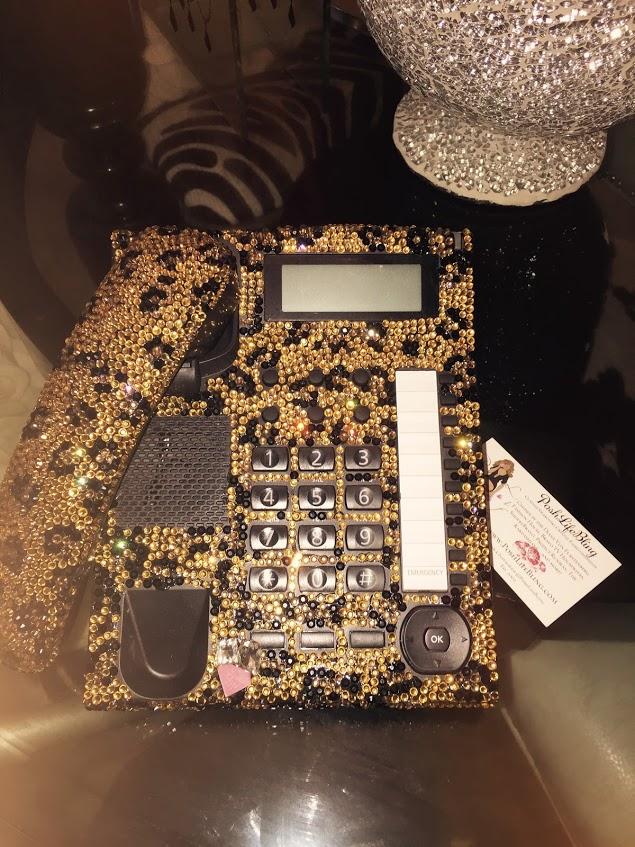 cheetah bling crystal desk phone full poshlifebling.jpg