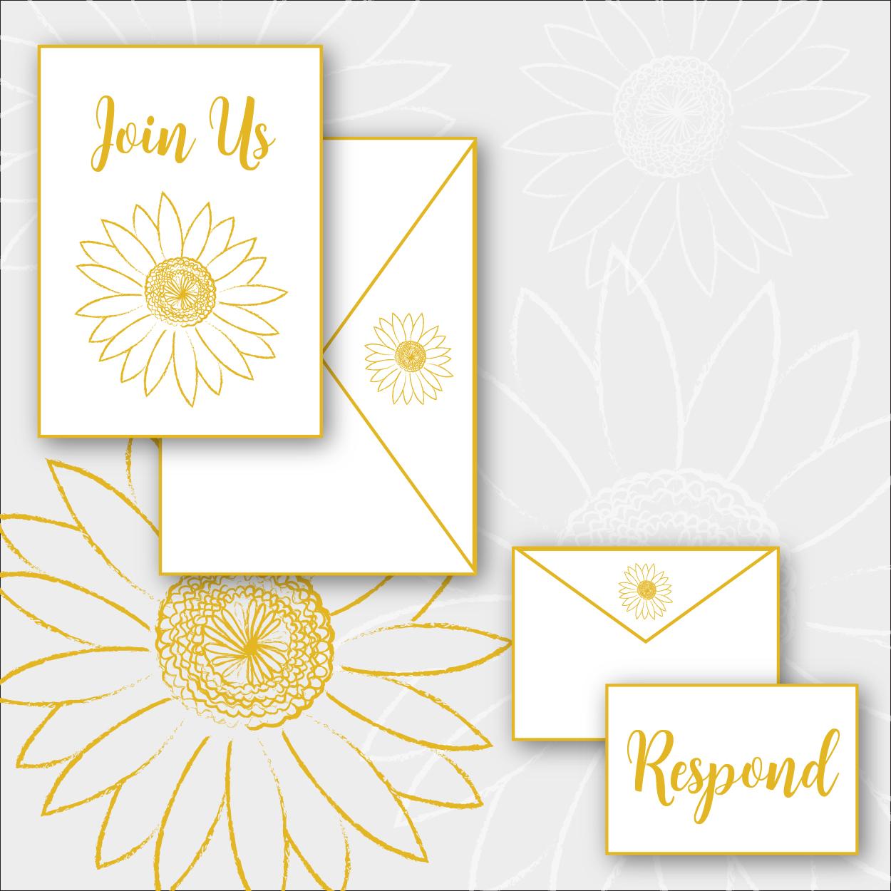 Daisy Package    >  Invitation + envelope  >  RSVP card + envelope  >  Digital printing on cotton, shimmer, or eggshell stock   $4.75 per suite + $350 custom design fee