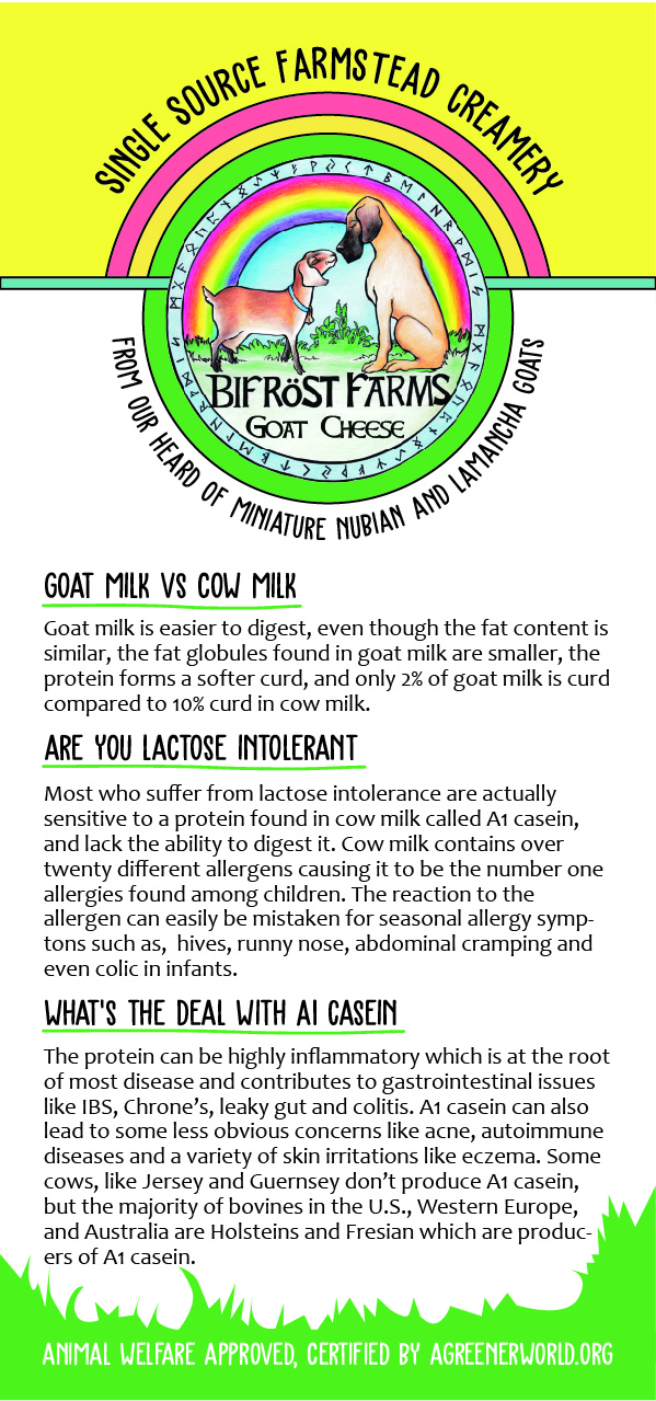 BIFROST FARMS - BROCHURE | CONTENTBifröst Farms, in Boyceville, WI, is home to our boarding kennel, a farmstead goat cheese micro-dairy, several rescue Great Danes and a tribe of goats. There is no telling what else we'll add in the coming years, but I wouldn't be surprised to see a yurt sitting up on the hilltop out back where people can stay while enjoying the farm, milking goats and making fresh artisanal cheese.