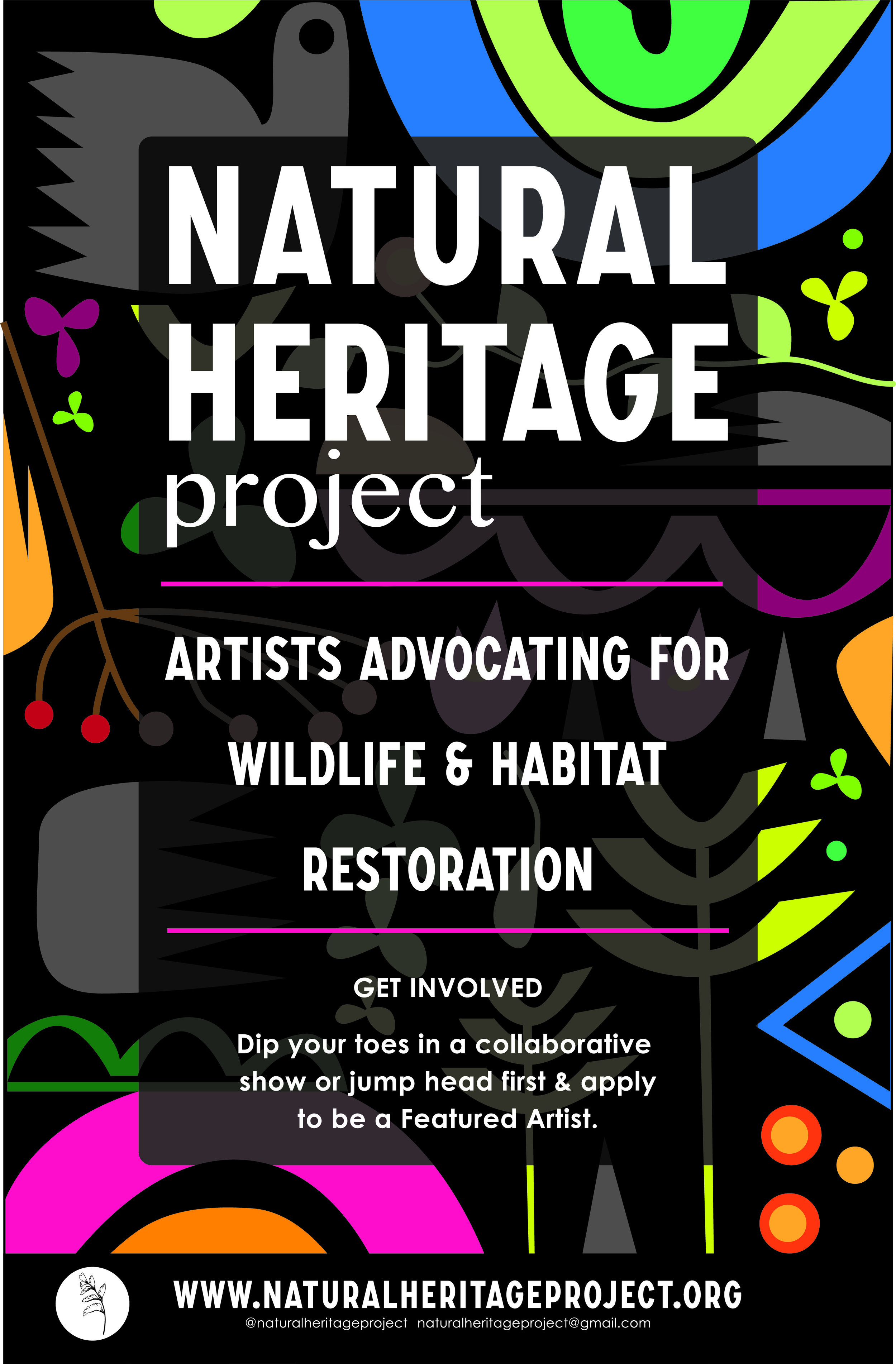 NATURAL HERITAGE PROJECT - WEB MASTER | BRAND ASSETS | LOGO | DRAFT CONTENTThe Natural Heritage Project works with artists of all mediums and encourages them to become educators and translators of environmental science and ecological data.