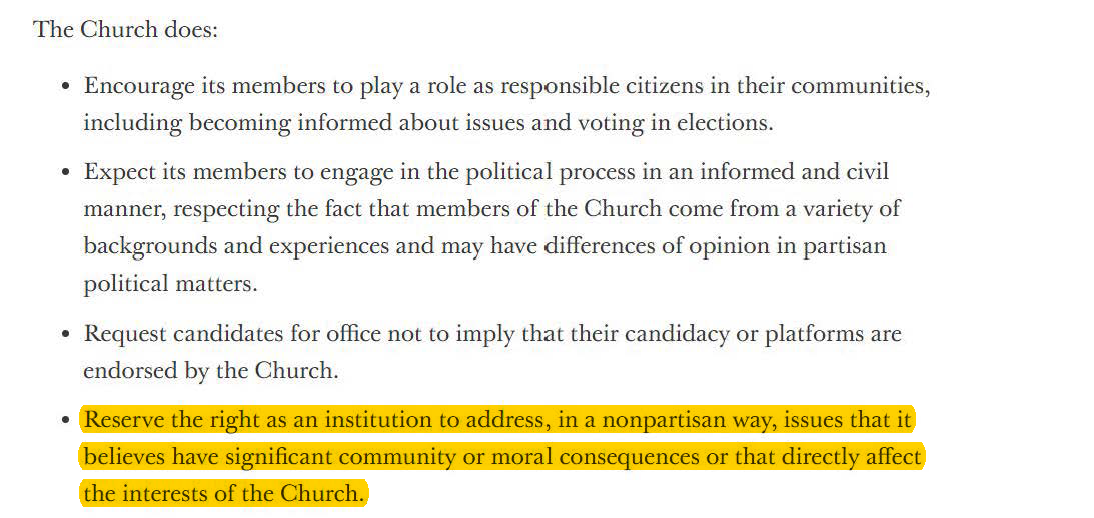 Screenshot retrieved from: https://www.mormonnewsroom.org/official-statement/political-neutrality (emphasis added)