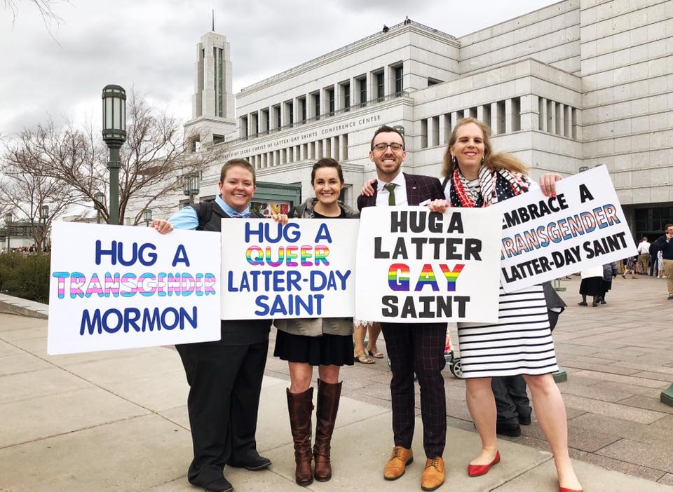 Kris Irvin, Blaire Ostler, Peter Moosman, and Katherine Herman in front of the Conference Center in Salt Lake City on April 6, 2019. Photo courtesy of Blaire Ostler.