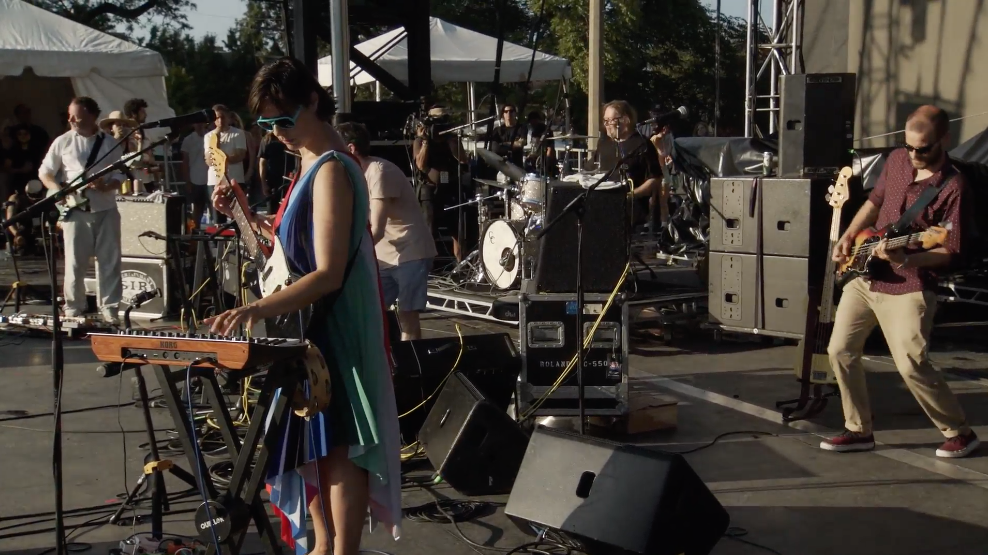 """Stereolab performs """"Percolator"""" at the Pitchfork Music Festival 2019. Click image for video."""