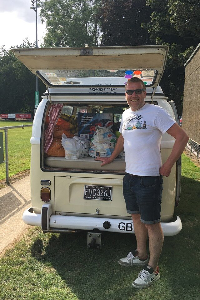 Whitenoise Neil loads up the VW Camper with the Norwich Soup Movement donations.jpg