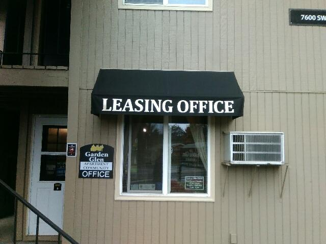 Commercial Stationary Apartment Awning with Leasing Office Graphics.jpg