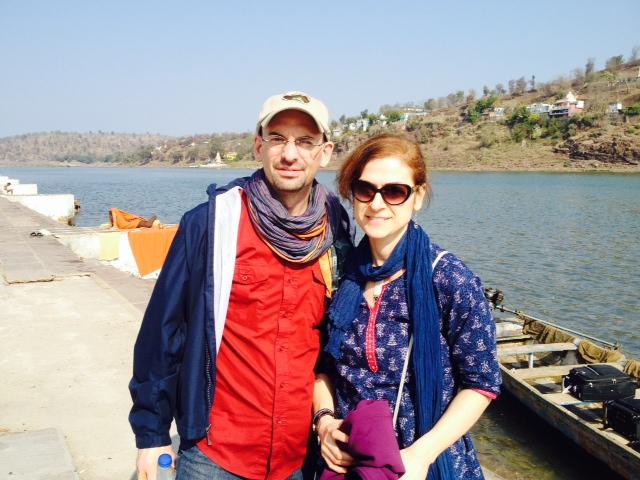 Angie and Josh in India, Narmada River  February, 2014
