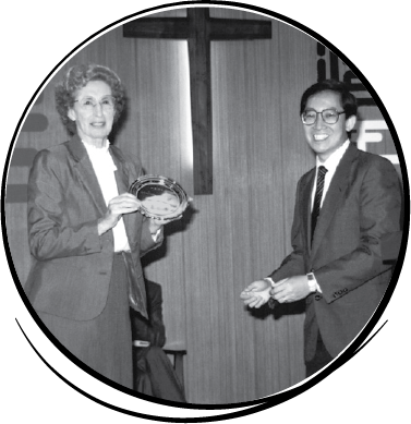Sadie honoured for years of service, Hong Kong. -