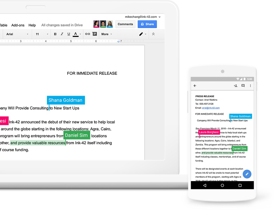 Collaborate in real-time. - Easily work on documents, spreadsheets, and slides across your devices, with or without internet.Work in a single document with teammates or people outside your company. See edits as others type, communicate through built-in chat, and ask questions in comments.Multiple people can work at the same time, and every change is saved automatically.