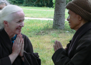 Joanne and Thich Nhat Hanh at Plum Village