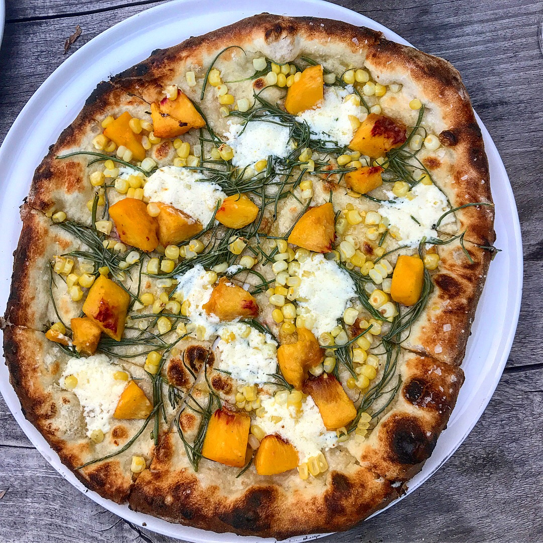 5. Table on Ten'sPeach and Corn Pizza - In July, Piyal and I took a weekend trip to Table on Ten, a farm-to-table pizza restaurant in the Catskills with a renovated upstairs hotel space. This peach, corn, and mozzarella pizza sounds weird but was probably the best thing we ate all summer.