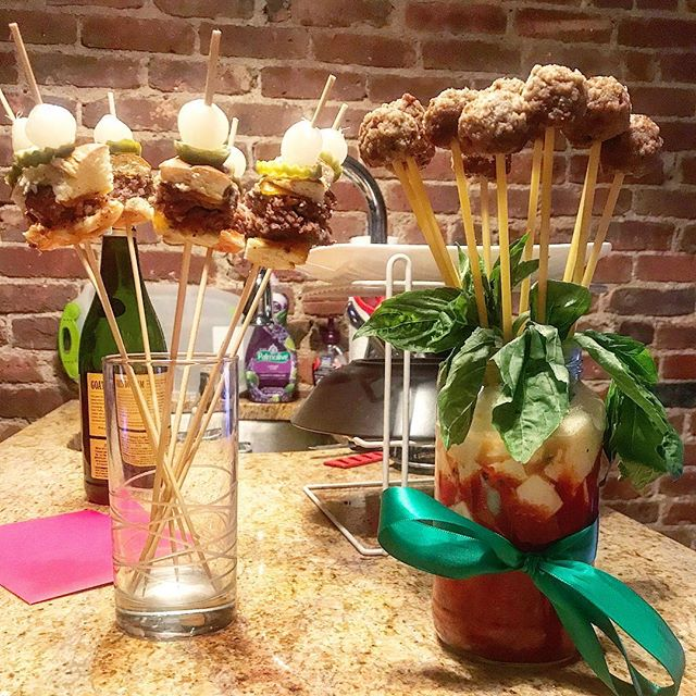 How @piyalbasu and I do Valentine's Day: cheeseburger bouquet by him, spaghetti and meatball bouquet by me #vdayeats
