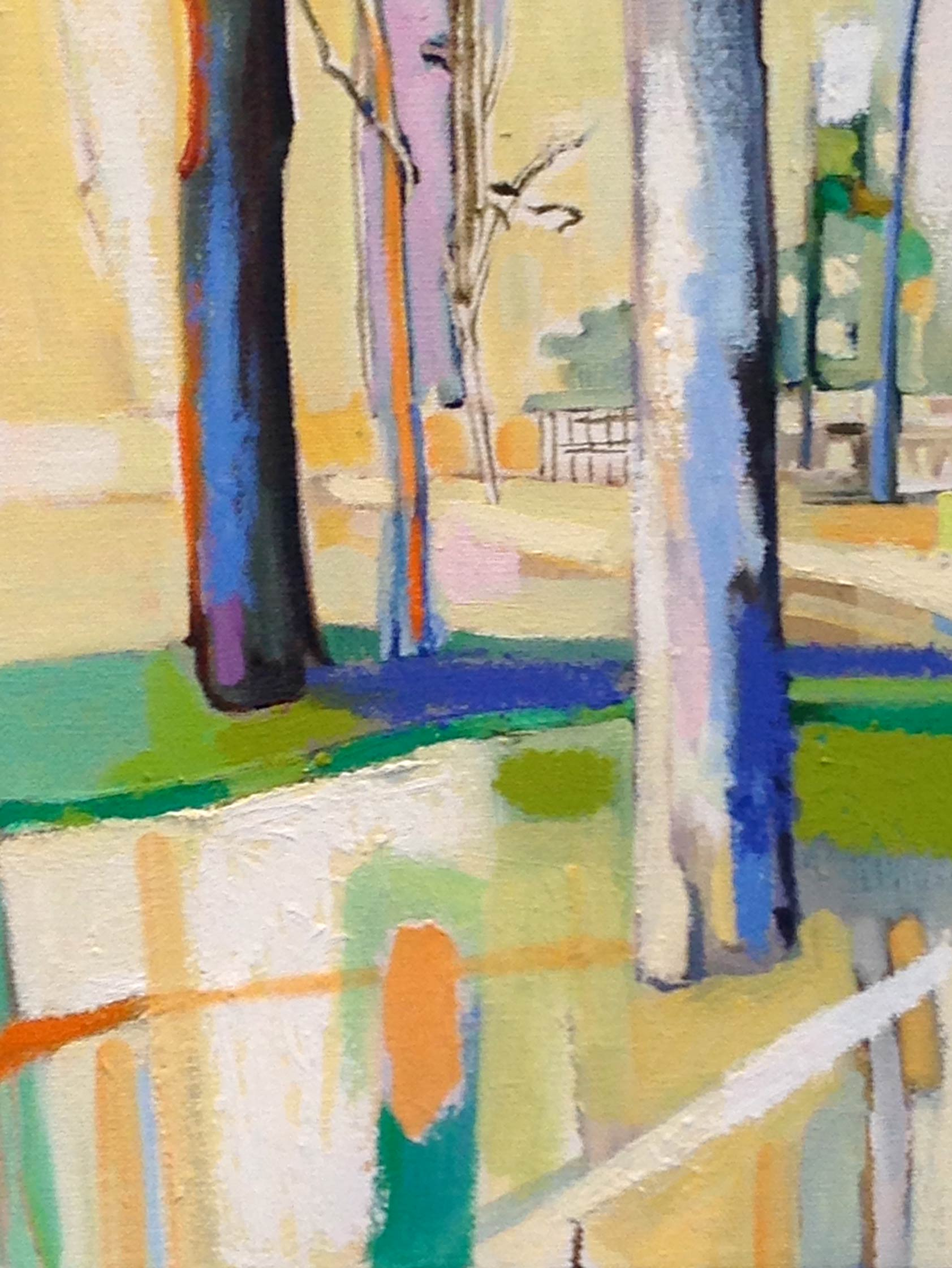 Trees with Orange and Pink   oil and oil stick 12 x 9 inches, 2015